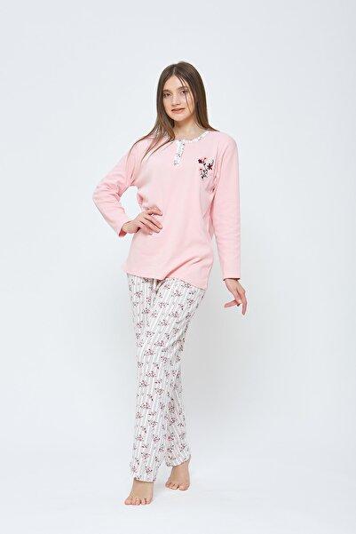Estiva Kadın Kışlık Penye Büyük Beden Pijama Takımı - Pudra
