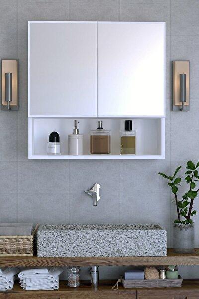 Remaks Life Aynalı Çok Amaçlı Aynalı Raflı Banyo Dolabı - Beyaz