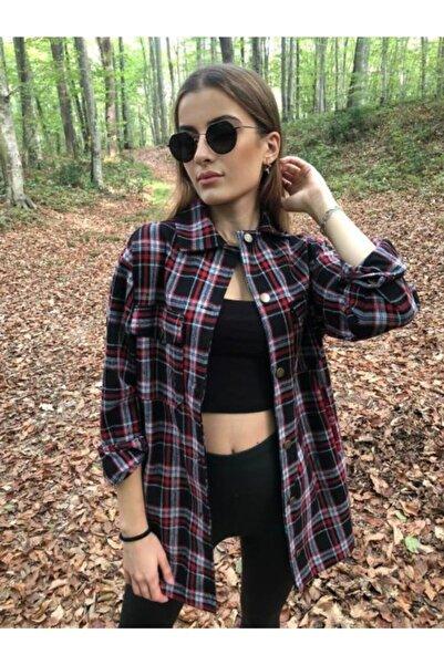 NİCE Kadın Bordo Çizgili Ekose Ceket