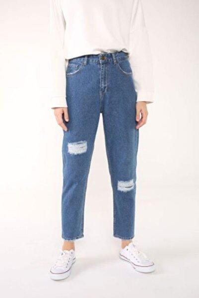 ALLDAY Mom Doğal Kumaş Yamalı Denim Pantolon