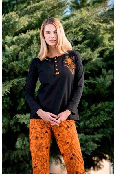 Yeni İnci Kadın Turuncu Yakası Düğmeli Pijama Takımı 1568