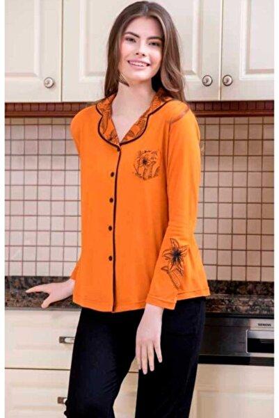 Yeni İnci Kadın Turuncu Desenli Pijama 1574