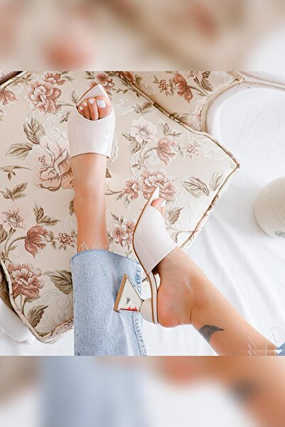 Limoya Kadın Lennox Ten Rugan Ayna Kare Topuklu Sivri Burunlu Terlik