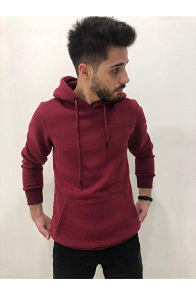 h&ç giyim Unisex Bordo Kapüşonlu Oversize Sweatshirt