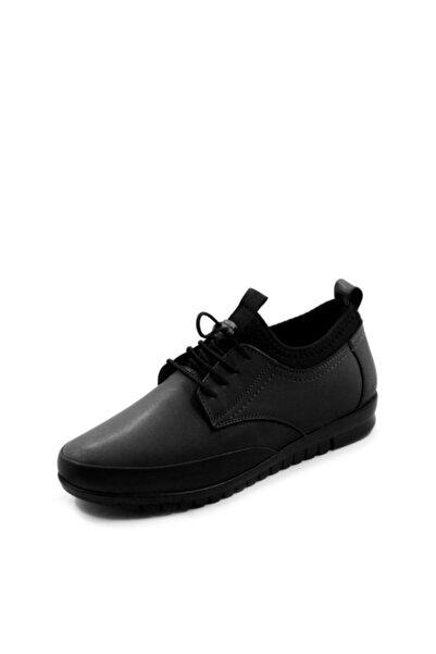 Valenta %100 Hakiki Deri Bağacıklı Siyah Kadın Ayakkabı