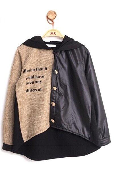 nk kids Kız Çocuk Vizon Siyah Hasırlı Gömlek 35036