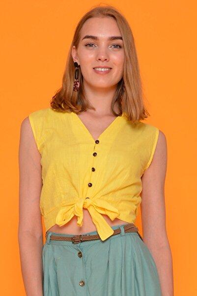 Mossta Kadın Sarı Bağlamalı Keten Bluz
