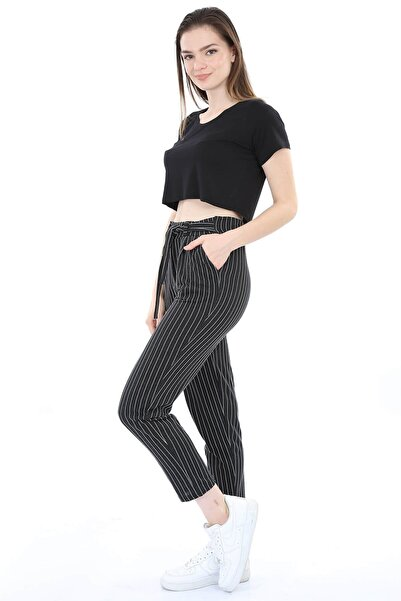 Mossta Kadın Siyah Kuşaklı Çizgili Pantolon