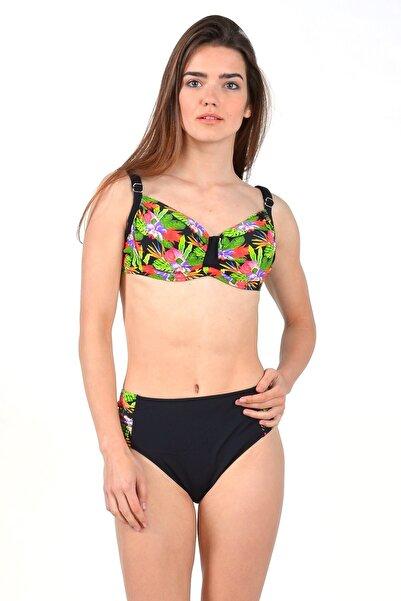 Mossta Kadın Siyah Full Lycra Büyük Beden Balenli Dekolte Bikini