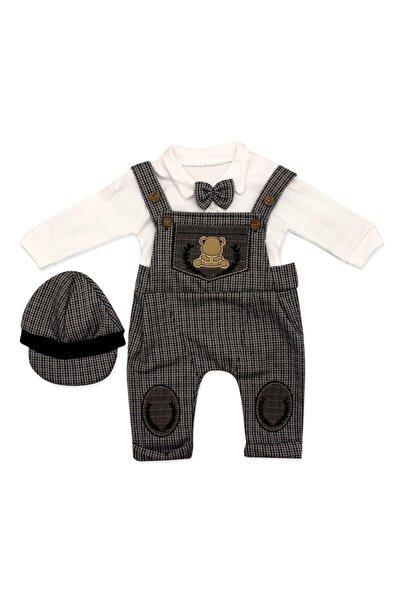 bebegen Papyonlu Ayıcık Desenli Kahve Şapkalı Slopet Tulum