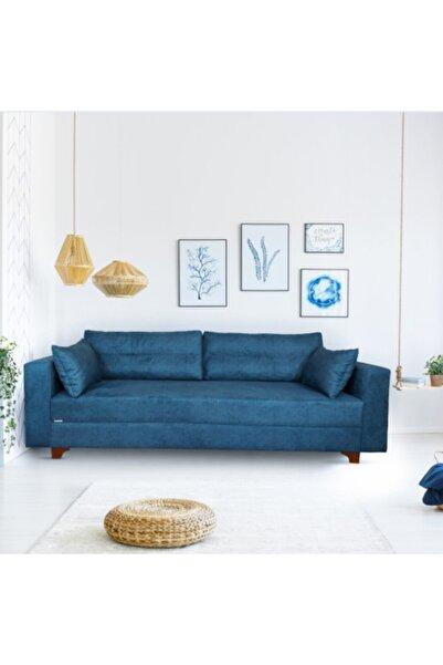 likemobilya Tarz 3'lü Mavi Renk Kanepe