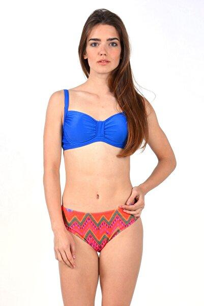Mossta Kadın  Lacivert Full Lycra Balenli Dekolte Bikini Takım