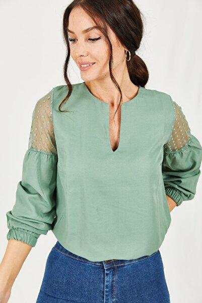 armonika Kadın Yeşil V Yaka Kolu Tüllü Balonlu Bluz ARM-20K001038