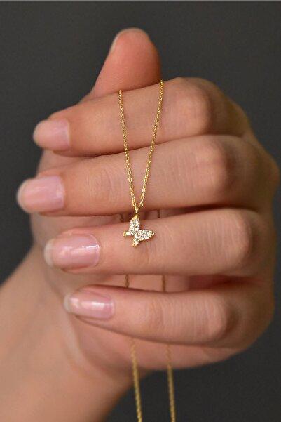 Papatya Silver 925 Ayar Gümüş Gold Kaplama Beyaz Taşlı Minimal Kelebek Kolye