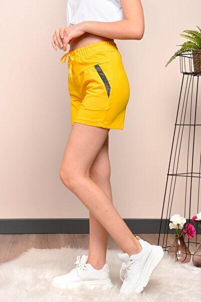 Mossta Kadın Sarı Sim Detaylı Cepli Penye Şort