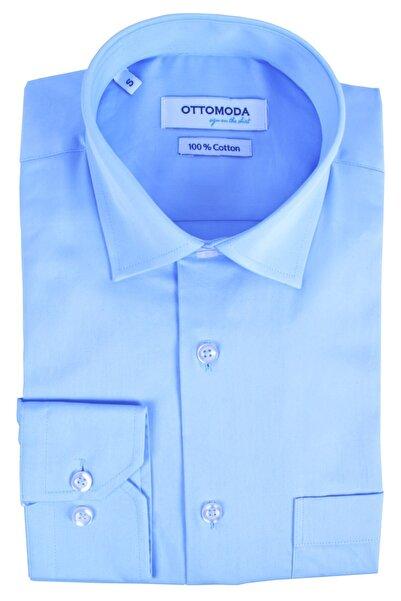 Ottomoda Erkek Mavi Cepli Uzun Kollu %100 Pamuk Saten Açık Klasik Gömlek
