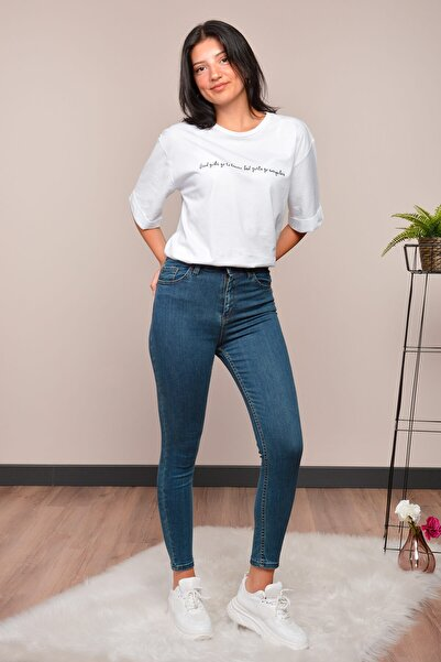 Mossta Kadın Mavi Yüksek Bel Likralı Jean