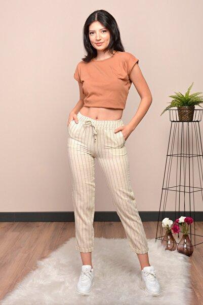 Mossta Kadın Bej Çizgili Keten Pantolon