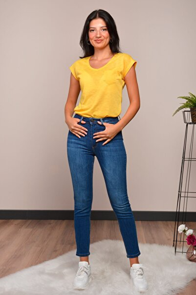 Mossta Kadın Lacivert Yüksek Bel Likralı Jean