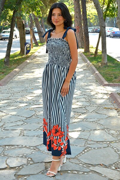 Mossta Kadın Lacivert Omuz Bağlamalı Gipeli Elbise
