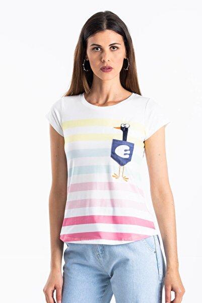 Mossta Kadın Beyaz Çizgili Cepli T-shirt