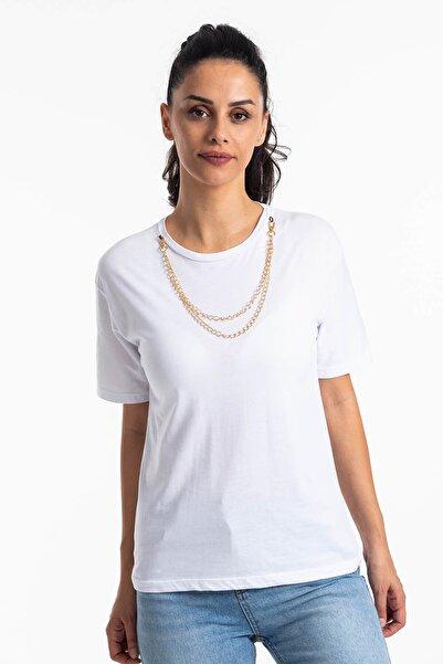 Mossta Kadın Beyaz Kısa Kol Zincirli T-shirt