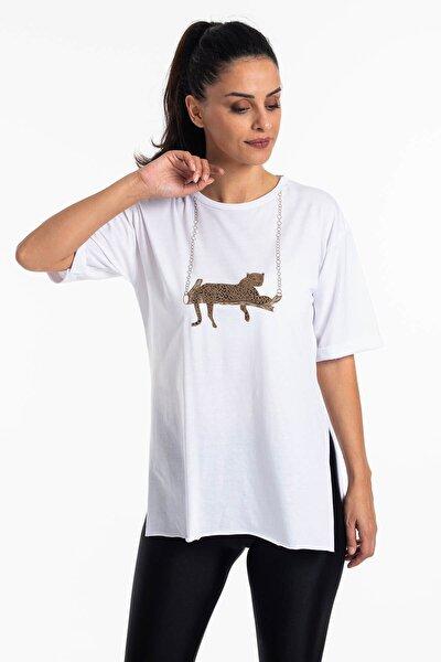 Mossta Kadın Beyaz Yırtmaçlı Salaş T-shirt
