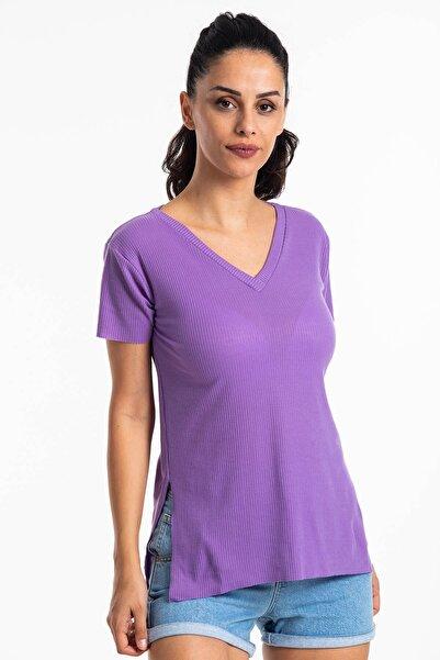 Mossta Kadın Lila V Yaka Yırtmaçlı Kaşkorse T-shirt