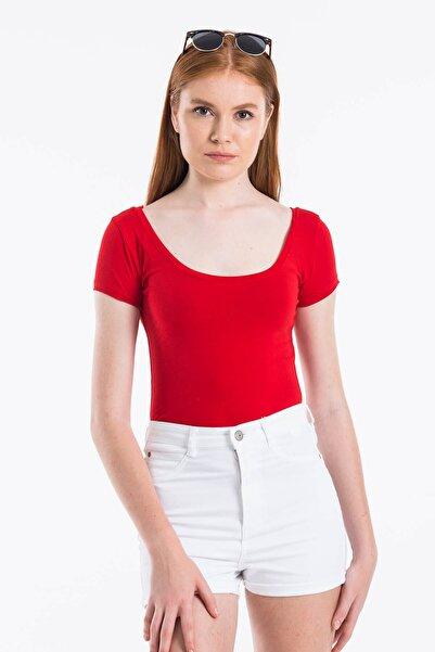 Mossta Kadın Kırmızı Basic Body U Yaka