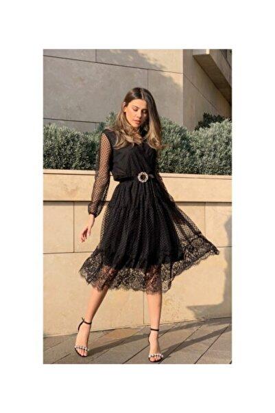 Gymodam Kadın Siyah Kruvaze Yaka Astarlı Tül Elbise