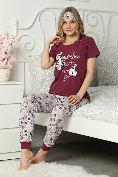 Mossta Kadın Mürdüm Love Baskılı Kısa Kol Pijama Takım