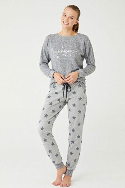 U.S. Polo Assn. Kadın Gri Renk Yıldızlı Pijama Takımı