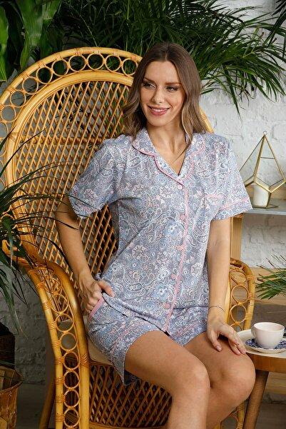 Mossta Kadın Mor Düğmeli Şortlu Pijama Takımı