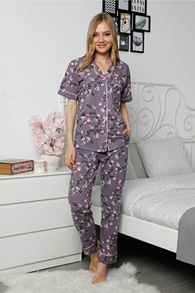 Mossta Kadın Mor Düğmeli Kısa Kol Pijama Takımı