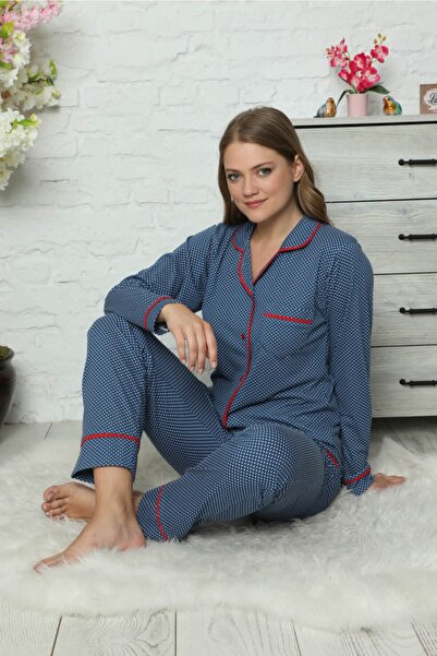 Mossta Kadın Lacivert Düğmeli Kadın Pijama Takımı