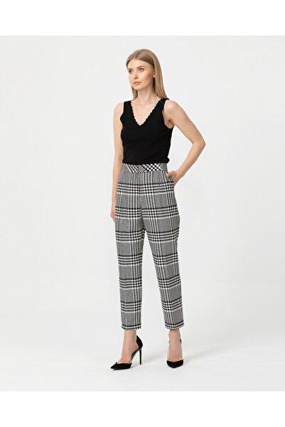 SEÇİL Kadın Siyah Ekose Desenli Pantolon