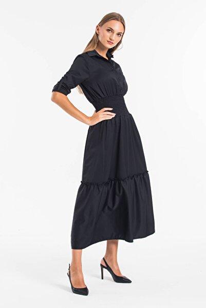 Mossta Kadın Siyah Bel Lastikli Gömlek Elbise