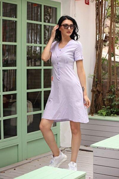 Mossta Kadın Lila Düğmeli Keten Elbise