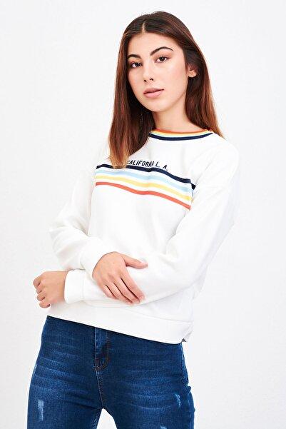 Mossta Kadın Beyaz California Sweatshirt