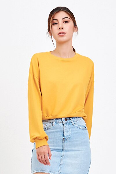 Mossta Kadın Sarı Basic Kadın Sweatshirt
