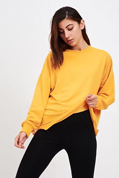 Mossta Kadın Hardal Basic Salaş Sweatshirt