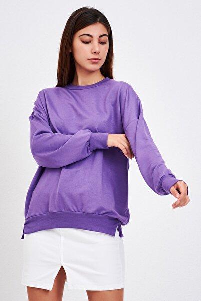 Mossta Kadın Mor Basic Salaş Sweatshirt