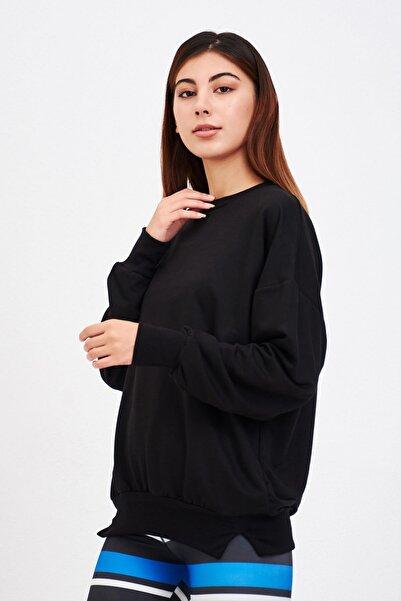 Mossta Kadın Siyah Basic Salaş Sweatshirt
