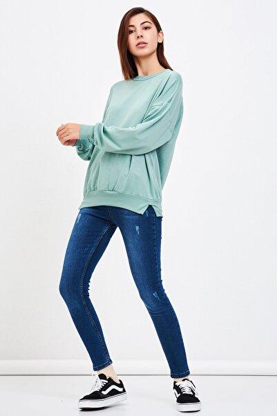Mossta Kadın Mint Basic Salaş Sweatshirt