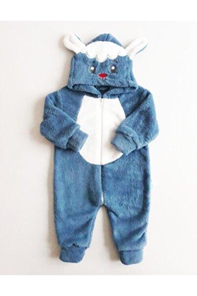 Baby Corner Unisex Bebek Mavi Kuzulu Peluş Tulum