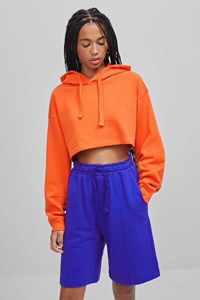 Bershka Kadın Turuncu Pamuklu Sweatshirt