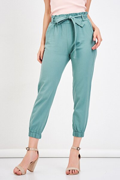 Mossta Kadın Yeşil Bel Lastikli Gabardin Pantolon