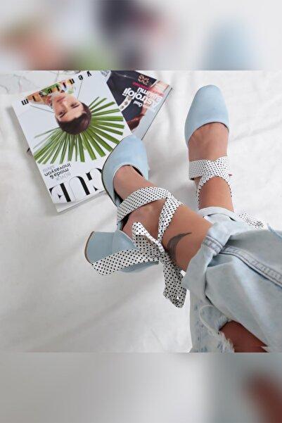 Limoya Ariella Bebek-mavisi Süet Bilekten Sargılı Puantiyeli Orta Topuklu Ayakkabı