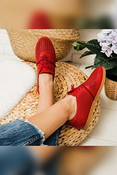 Limoya Patricia Kırmızı Hakiki Deri Lazer Desenli Casual Ayakkabı