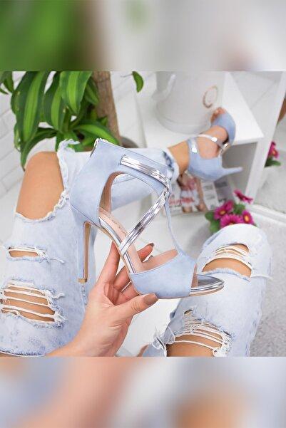 Limoya Valery Bebek-mavisi Süet Platin Ince Topuklu Ayakkabı